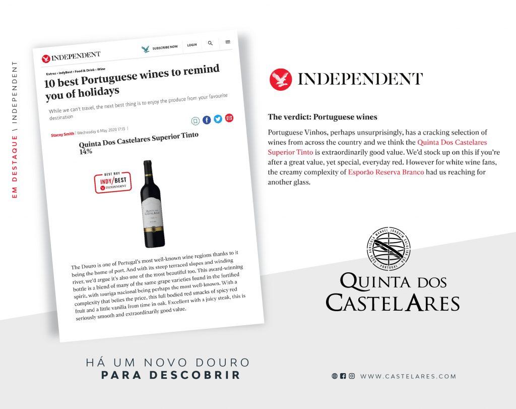 Quinta dos Castelares Superior em destaque no The Independent